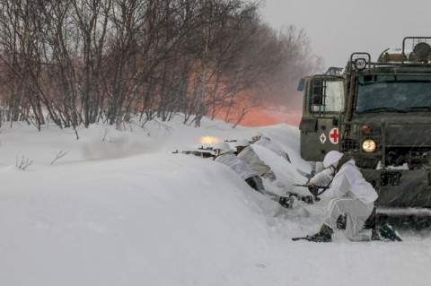 Northern Fleet marines use clearly marked Red Cross vehicle as target and cover in ambushing drill
